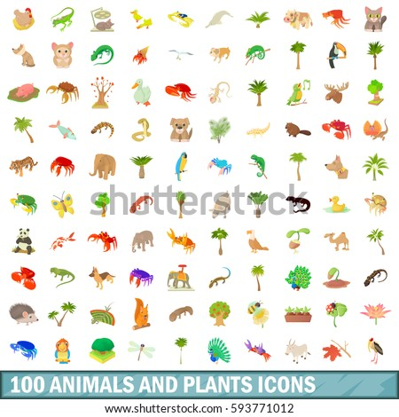 100 animals and plants icons set. Cartoon illustration of 100 animals and plants vector icons set isolated on white background