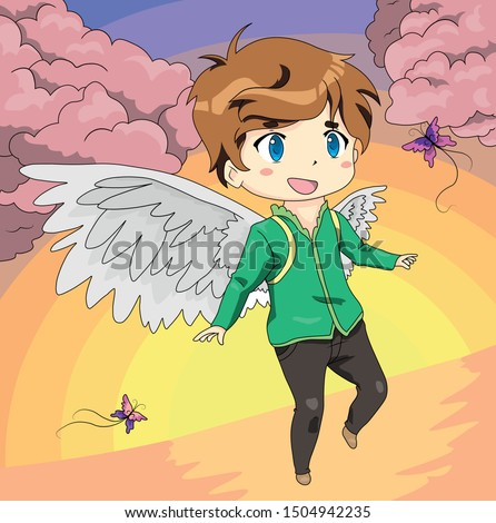 anime angel with butterflies