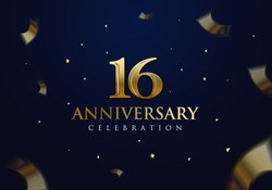 16 Anniversary celebration design on luxury royal blue background with stars, glitters and streamer ribbons. Vector festive illustration. Birthday or wedding party event decoration.