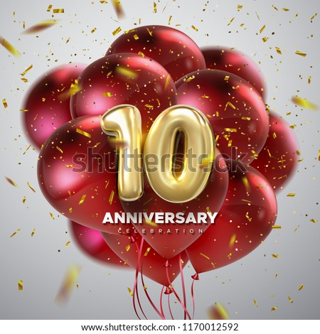 10 Anniversary celebration. Golden numbers with sparkling confetti and red balloon bunch. Vector festive illustration. Realistic 3d sign. Party event decoration