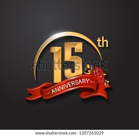 15 anniversary design logotype