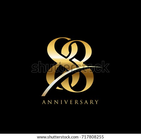 88 anniversary elegance gold logo. linked number with swoosh on black background