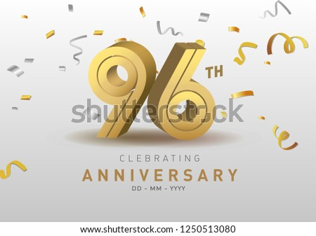 96 Anniversary gold numbers with golden confetti. Celebration 96th anniversary event party template.