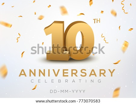 10 Anniversary gold numbers with golden confetti. Celebration 10th anniversary event party template. Foto stock ©