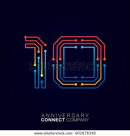 10 Anniversary, Letter ten logotype orange and blue color,Technology and digital abstract dot connection company vector logo ストックフォト ©