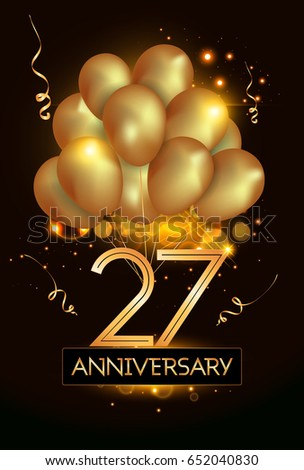 27 Anniversary Logo Celebration with Golden balloon and confetti, Isolated on dark Background #652040830