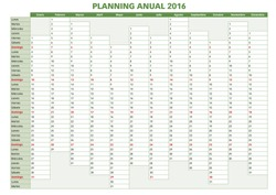 2016 Annual planner. Spanish calendar for year 2016. Week starts on Monday
