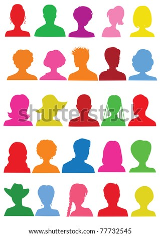 25 Anonymous colorful mugshots - stock vector