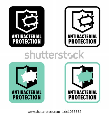 'Antibacterial Protection' antimicrobial coat defense information sign Stok fotoğraf ©
