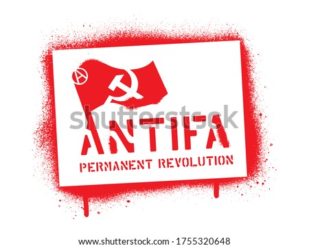 ''ANTIFA''- PERMANENT REVOLUTION. Spray paint graffiti stencil. Common name for militant and radical antifascists, communists, leftists and anarchists. Photo stock ©