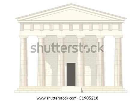 antiquities greek temple,vector without gradient