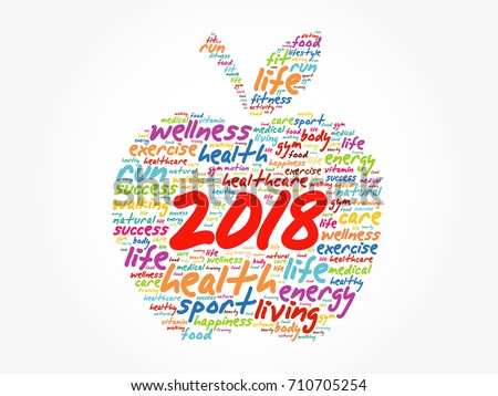 2018 apple word cloud collage, health concept background