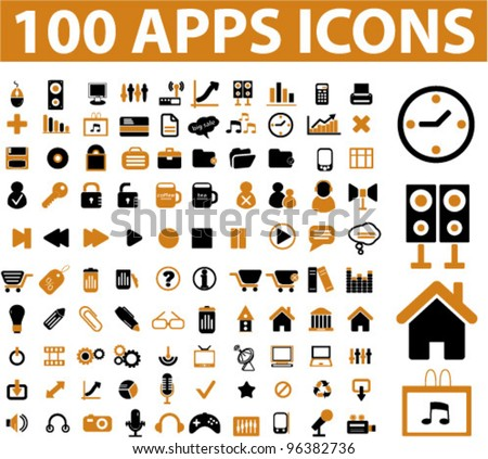 100 apps icons set, vector