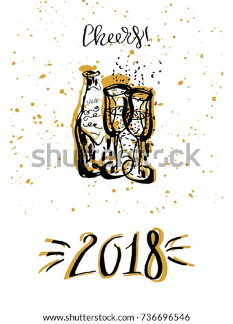 new year cheers toast hand drawn lettering with champagne glasses vector illustration for