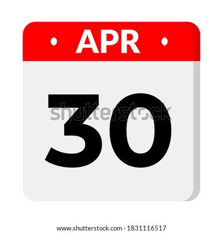 30 April calendar icon vector Photo stock ©