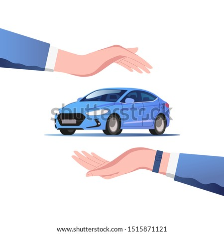 Сar insurance  concept. Safety and security service. Vector illustration. Сток-фото ©