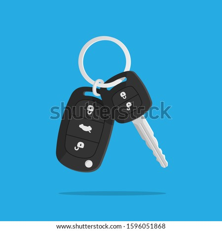 Сar keys. Charm of the alarm system. Isolated vector illustration in flat style. ストックフォト ©