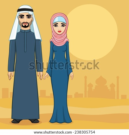 arab family in traditional
