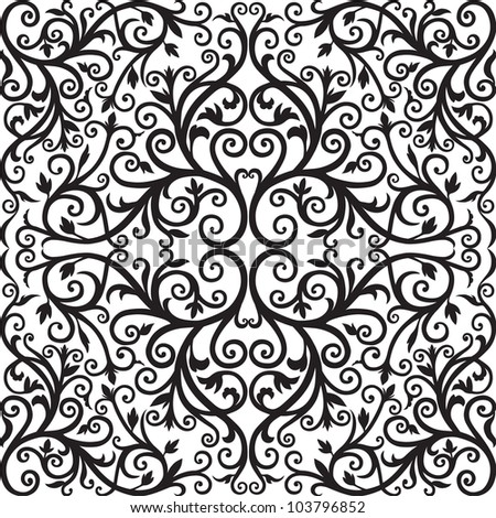 Arabic floral pattern. Black graphics. Vector.