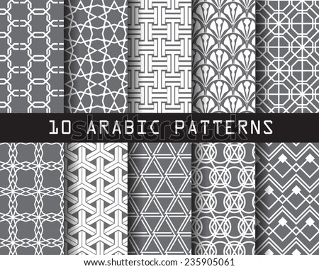 10 arabic seamless patterns Pattern Swatches vector Endless texture can be used for wallpaper pattern fills web page background surface