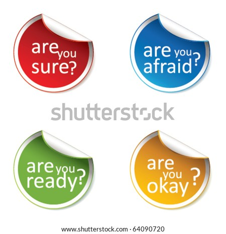 """Are you"" multicolored stickers. - stock vector"