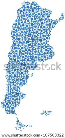 Argentina (Latin America) in a mosaic of blue circles - stock vector