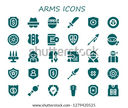 arms icon set 30 filled arms