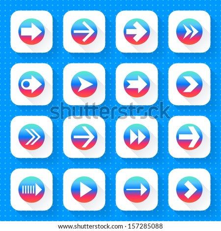16 arrow icon set 03 (gradient sign on white). Square web internet button on blue background with blueprint paper texture imitation. Simple flat long shadow style. Vector illustration design in 10 eps