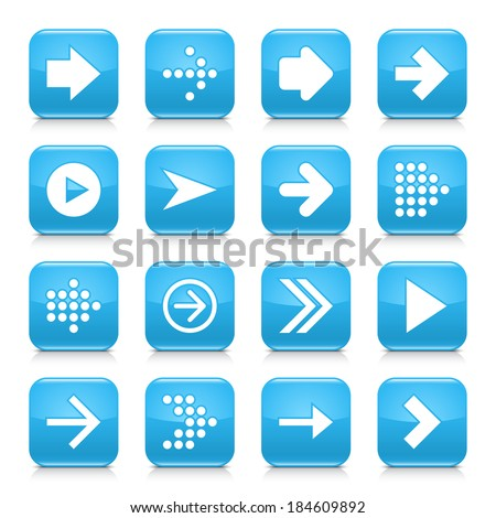 16 arrow icon set 01. White sign on blue rounded square button with gray reflection, black shadow on white background. Glossy style. Vector illustration web design element save in 8 eps #184609892