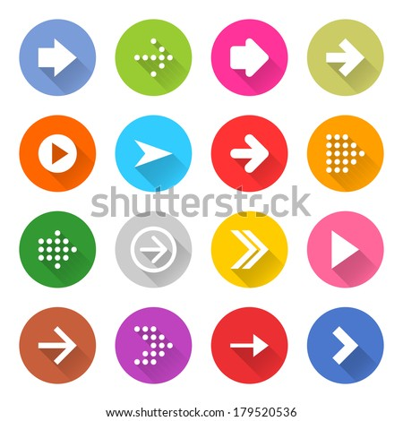 16 arrow icon set 01 (white sign on color). Circle web button on white background. Simple minimalistic mono flat long shadow style. Vector illustration internet design graphic element 10 eps #179520536