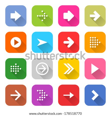 16 arrow icon set 01 (white sign on color). Rounded square web button on white background. Simple minimalistic mono flat long shadow style. Vector illustration internet design graphic element 10 eps #178518770