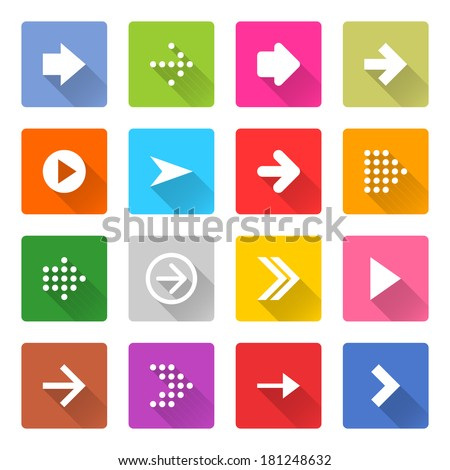 16 arrow icon set 01 (white sign on color). Square web button on white background. Simple minimalistic mono flat long shadow style. Vector illustration internet design graphic element 10 eps #181248632