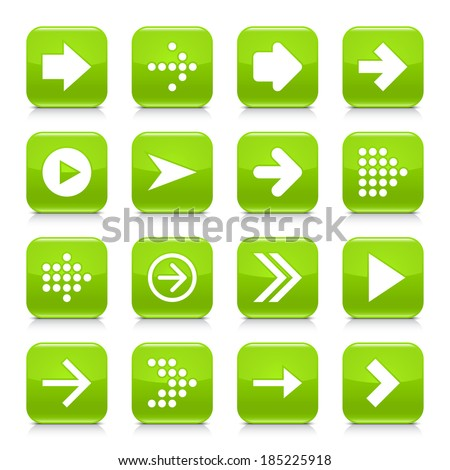 16 arrow icon set 01. White sign on green rounded square button with gray reflection, black shadow on white background. Glossy style. Vector illustration web design element save in 8 eps #185225918