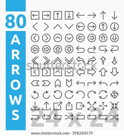 80 Arrow outline icons for user interface and web project base on 24 pixel grids. Minimal navigation sign and symbols collections. Vector illustration