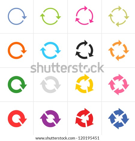 16 arrow pictogram refresh reload rotation loop sign set. Simple color web icon on white background. Modern contemporary solid plain flat minimal style. Vector illustration design elements 8 eps