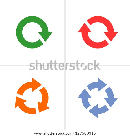 4 arrow pictogram refresh reload rotation loop sign set. Volume 03 (color). Mono solid plain flat minimal style. Simple icon on white background. Vector illustration design elements saved in 8 eps