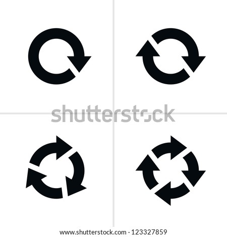 4 arrow pictogram refresh reload rotation loop sign set. Volume 03. Simple black icon on white background. Modern mono solid plain flat minimal style. Vector illustration web design elements 8 eps