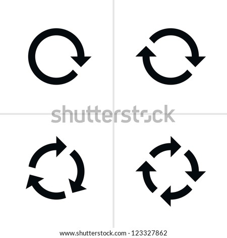 4 arrow pictogram refresh reload rotation loop sign set. Volume 02. Simple black icon on white background. Modern mono solid plain flat minimal style. Vector illustration web design elements 8 eps