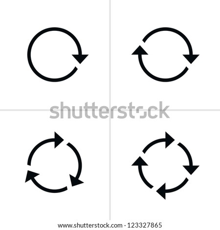 4 arrow pictogram refresh reload rotation loop sign set. Volume 01. Simple black icon on white background. Modern mono solid plain flat minimal style. Vector illustration web design elements 8 eps