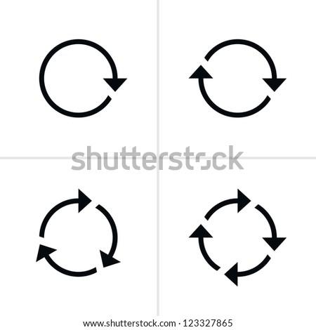 4 arrow pictogram refresh reload rotation loop sign set. Volume 01. Simple black icon on white background. Modern mono solid plain flat minimal style. Vector illustration web design elements 8 eps