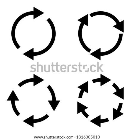 4 arrow pictogram refresh reload rotation loop sign set. Volume 03. Simple black icon on white background. Modern mono solid plain flat minimal style. Vector illustration web design elements 8 eps