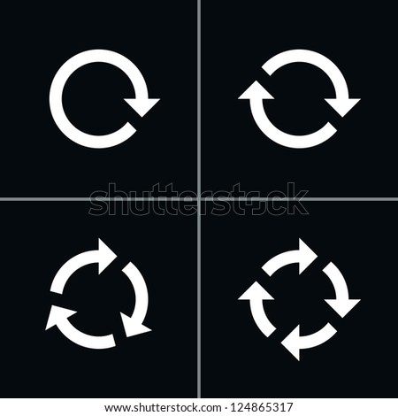4 arrow pictogram refresh reload rotation loop sign set. Volume 02 - White Version. Simple icon on black background. Mono solid plain flat minimal style. Vector illustration web design elements 8 eps