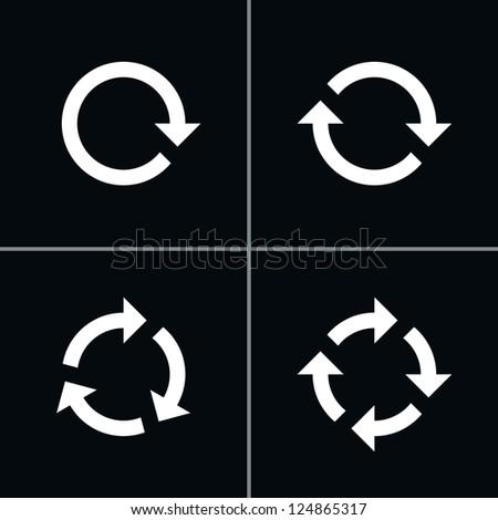 4 arrow pictogram refresh reload rotation loop sign set. Volume 02 - White Version. Simple icon on black background. Mono solid plain flat minimal style. Vector illustration web design elements 8 eps
