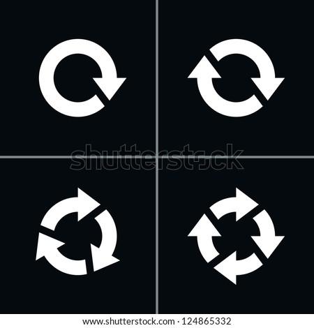 4 arrow pictogram refresh reload rotation loop sign set. Volume 03 - White Version. Simple icon on black background. Mono solid plain flat minimal style. Vector illustration web design elements 8 eps
