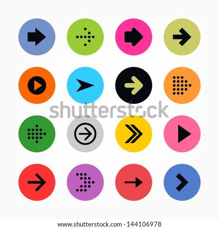 16 arrow sign icon set. Black on color. Set 01. Solid plain monochrome flat tile. Simple round shape internet button. Contemporary modern metro style. Web design elements vector illustration 8 eps #144106978