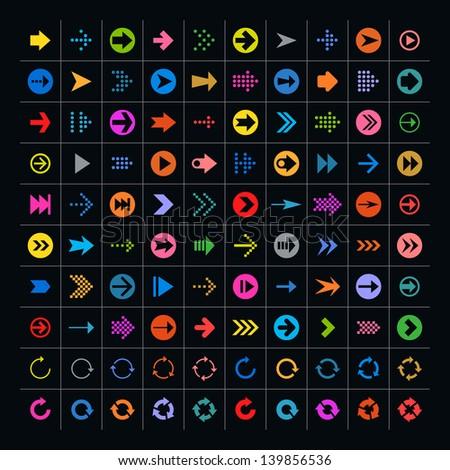 100 arrow sign icon set. Volume 02 (color on black). Simple pictogram minimal, flat, solid, mono, plain, contemporary style. Vector illustration web internet design elements 8 eps