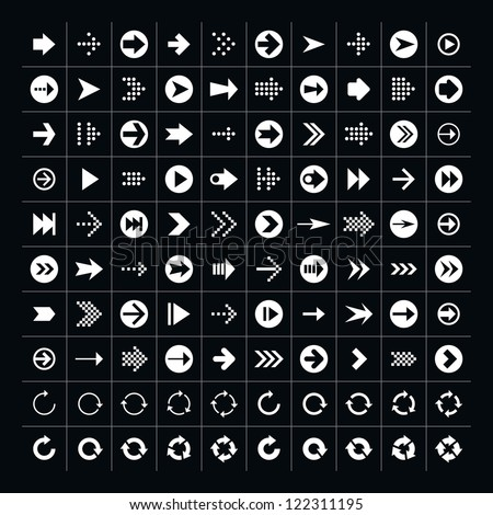 100 arrow sign icon set. Volume 1 (white version). Simple pictogram minimal, flat, solid, mono, monochrome, plain, contemporary 2-d style. Vector illustration web internet design elements saved 8 eps