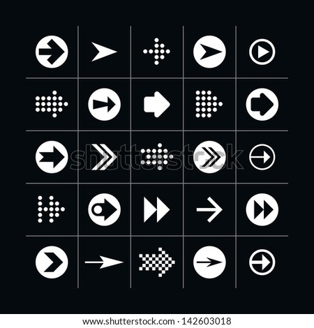 25 arrow sign icon set 02 (white in black). Modern simple pictogram minimal, mono, monochrome, contemporary style. Vector illustration web internet design elements saved in 8 eps #142603018