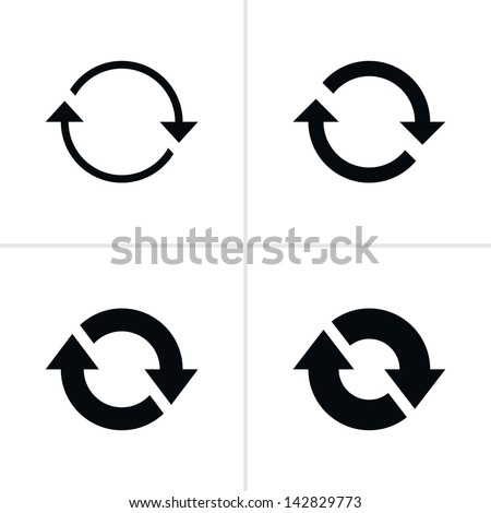 Shutterstock 4 arrow sign reload refresh rotation loop pictogram. Set 02. Simple black icon on white background. Modern mono solid plain flat minimal style. Vector illustration web design elements save in 8 eps