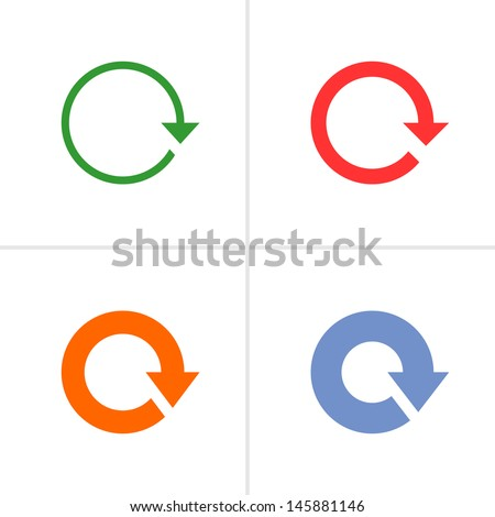 ShutterStock 4 arrow sign rotation reset reload refresh pictogram set